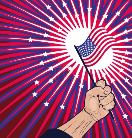 Liberty Concept - Close Fist Holding American Flag