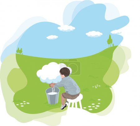 Cartooned Sitting Man Milking from a Cloud