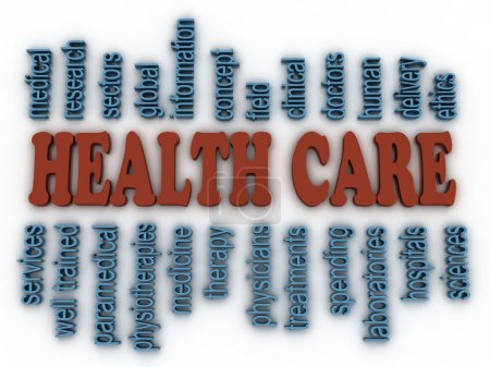 3d image Health Care concept word cloud background