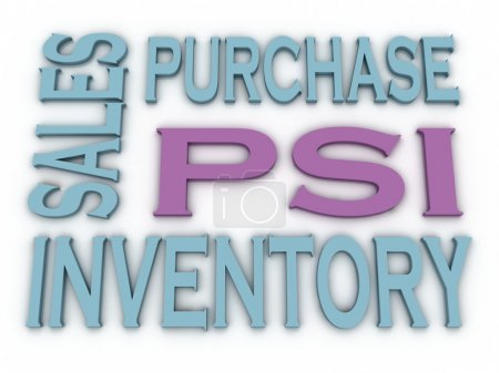3d image PSI (Purchase, Sales and Inventory)  issues concept wor