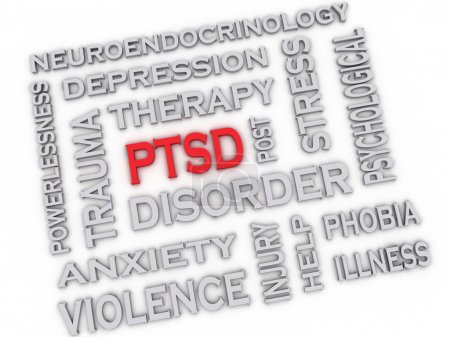 Photo for 3d image PTSD - Posttraumatic Stress Disorder issues concept word cloud background - Royalty Free Image