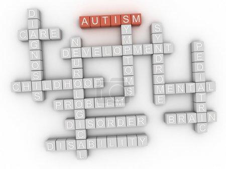 Photo pour 3D image mot concept autisme cloud fond - image libre de droit