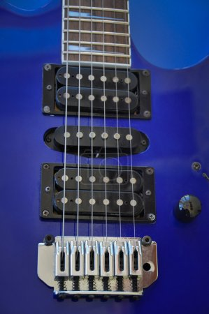 Photo for Part of an electric guitar with pickup and strings - Royalty Free Image