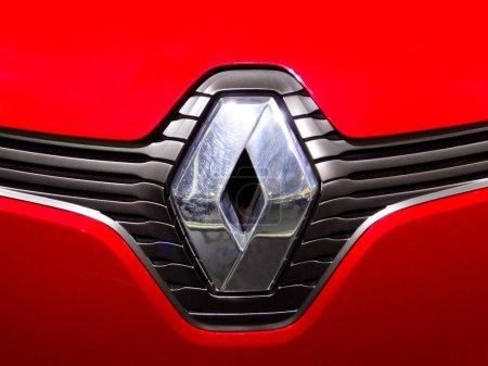 Close-up Renault logo. Chrome metal...