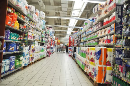 Photo for Istanbul Maltepe Carrefour has opened a new branch. Cleaning materials section - Royalty Free Image
