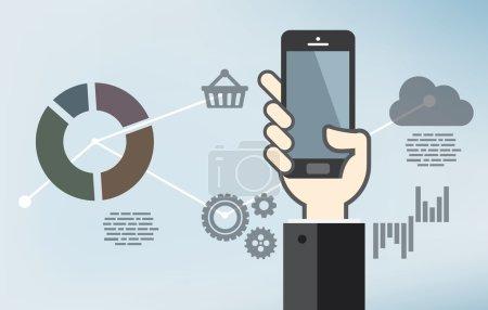 Illustration pour Développement d'applications mobiles ou programmation d'applications pour smartphones - design plat - image libre de droit