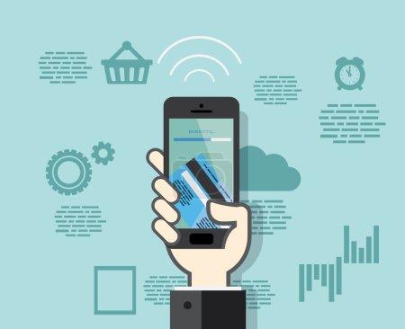 Illustration pour Smartphone design plat avec paiements mobiles par carte de crédit - image libre de droit