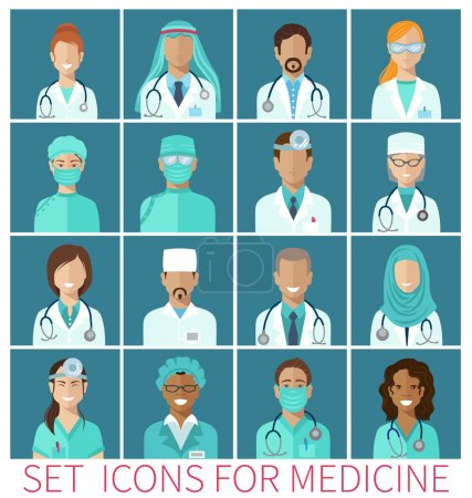 Illustration for Set of avatar icons characters for medicine, flat design - Royalty Free Image