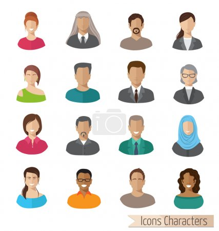 Illustration for Set of people icons  with faces. Women men character - Royalty Free Image