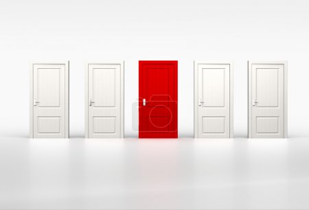 Concept of individuality and opportunity. Red door in row of whi
