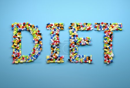 Photo for Concept of dieting. Word diet made of colorful pills and capsule. 3d render - Royalty Free Image