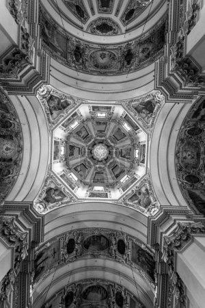Beautiful decorated ceiling at Salzburg Cathedral
