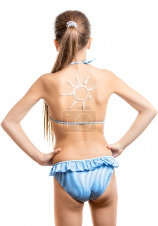 cute girl with sun on back drawn by sun lotion