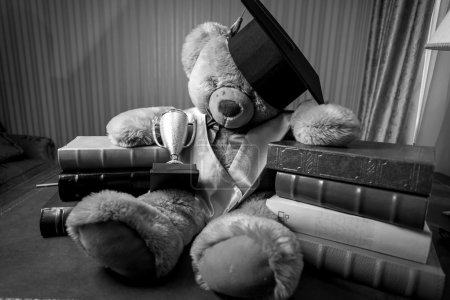 Monochrome shot of teddy bear in graduation hat sitting on table