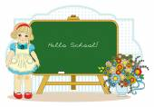 girl near school blackboard