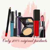 Set of cosmetics - lipstick lip gloss powder mascara carcasses shadow pencil and nail polish vector illustration for promotional items - booklets brochures leaflets or banner