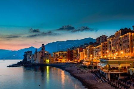 Beautiful Sunset on the Pebble Beach in Camogli near Genoa, Italy