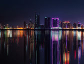 Night modern city skyline with neon lights and reflections