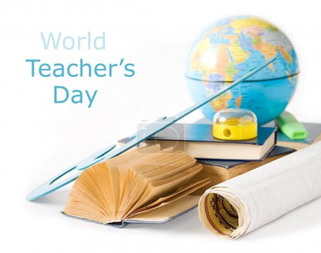 Teacher Day (still life with books, map, sharpener and globe isolated on white background)