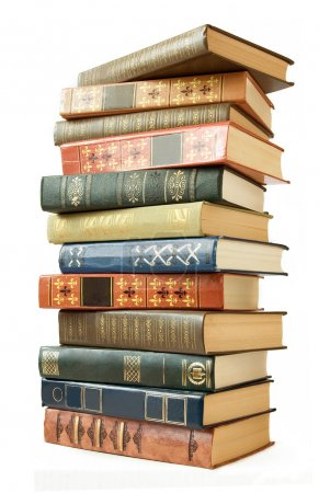 Photo for Old book pile isolated on white background - Royalty Free Image