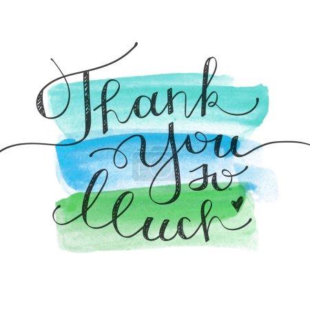 Illustration pour Merci beaucoup, lettrage vectoriel sur les coups de pinceau aquarelle - image libre de droit