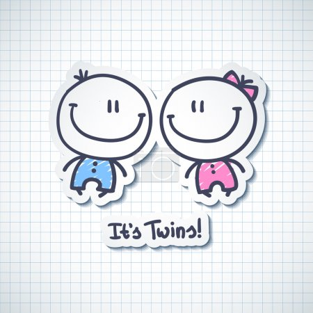 Illustration for Its twins, vector hand drawn babies with text - Royalty Free Image