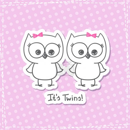 Illustration for Vector little owls twins, baby shower invitation template - Royalty Free Image