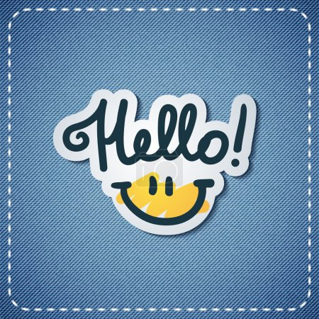 Illustration for Hello, handwritten text and smile on denim texture - Royalty Free Image