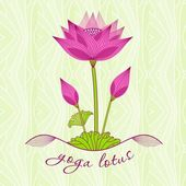 bright pink lotus flower with buds on a light background
