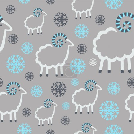 Winter pattern with sheep and snowflakes on a gray background