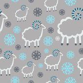Zimní vzorek s ovcí a sněhové vločky na šedém pozadí