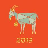 Vánoční koza na červeném pozadí trojúhelníky silueta design