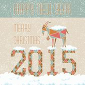 Vánoční koza na tmavém pozadí na čísla s sněhu a závěje card design