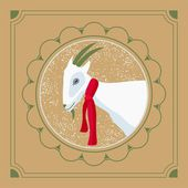 Bílá koza na kulaté okno rámu přání vánoční d