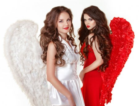 Attractive fashion beautiful angel girls with angel's wings. Val