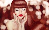 Beautiful girl with Long Hair. Fashion Woman Portrait. Makeup. M