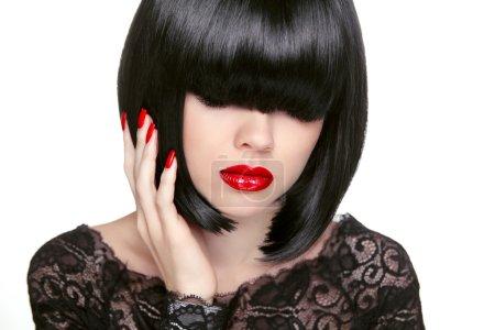 Makeup. Fashion bob Haircut. Hairstyle. Long Fringe. Short Hair