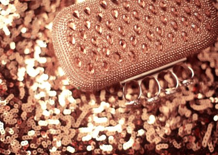 Beauty fashion purse with strass and beaded on sequins sparkling