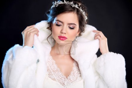 Beauty Fashion Model Girl in Mink Fur Coat and white furry hood.