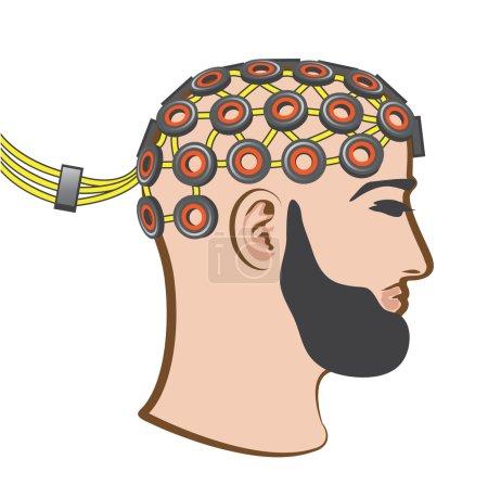 Brain EEG electrodes Bearded Man vector Illustration