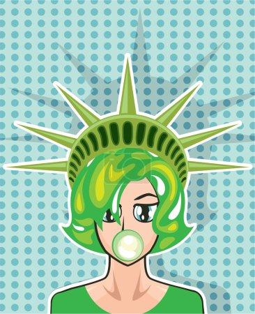 Miss America vector cartoon