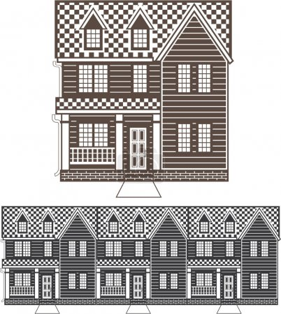 Illustration for TownHouse row of townhomes vector - Royalty Free Image