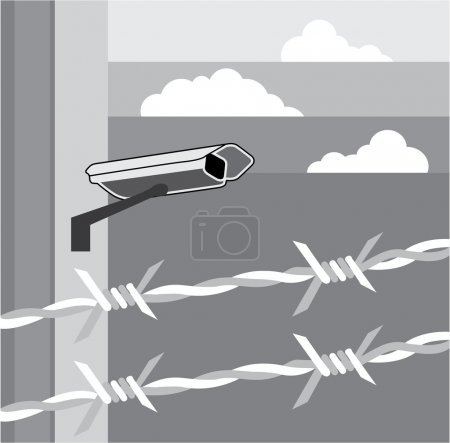 Illustration pour Caméra de sécurité. Installation sécurisée. - image libre de droit