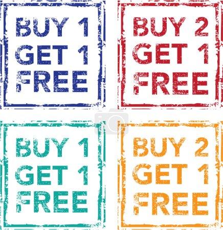 Buy 1 Get 1 Free Stamp Buy 2 Get 1 Free Vector