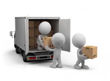 Photo for Workers unload the car with boxes. 3d image. White background. - Royalty Free Image