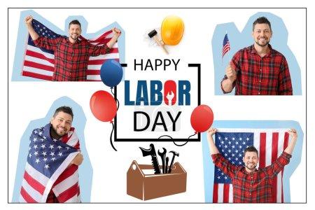 Photo pour Collage de bel homme avec drapeau des États-Unis et texte HAPPY LABOR DAY sur fond blanc - image libre de droit