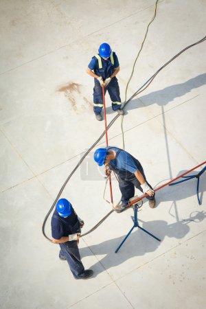 Aerial view of oil engineers