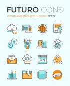 Line icons with flat design elements of cloud computing technology big data analysis global network connection computer communication Modern infographic vector logo pictogram collection concept