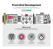 One page web design template with thin line icons of front-end development of client web software application programming and testing Flat design graphic hero image concept website elements layout