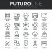 Modern thin line icons set of  cloud computing network internet data technology Premium quality outline symbol collection Simple mono linear pictogram pack Stroke vector logo concept for web graphics